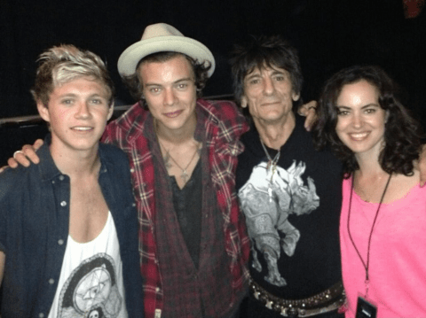 One Direction's Harry Styles and Niall Horan Roll with the Stones backstage after gig