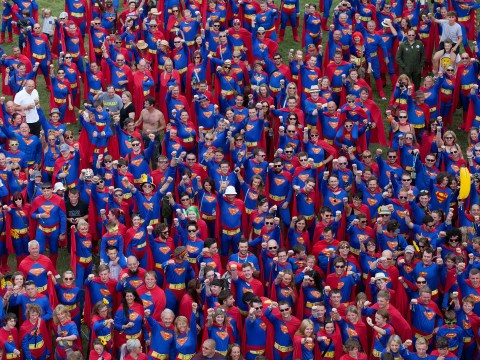 Men, women and children of steel: 867 break record for most people dressed as Superman