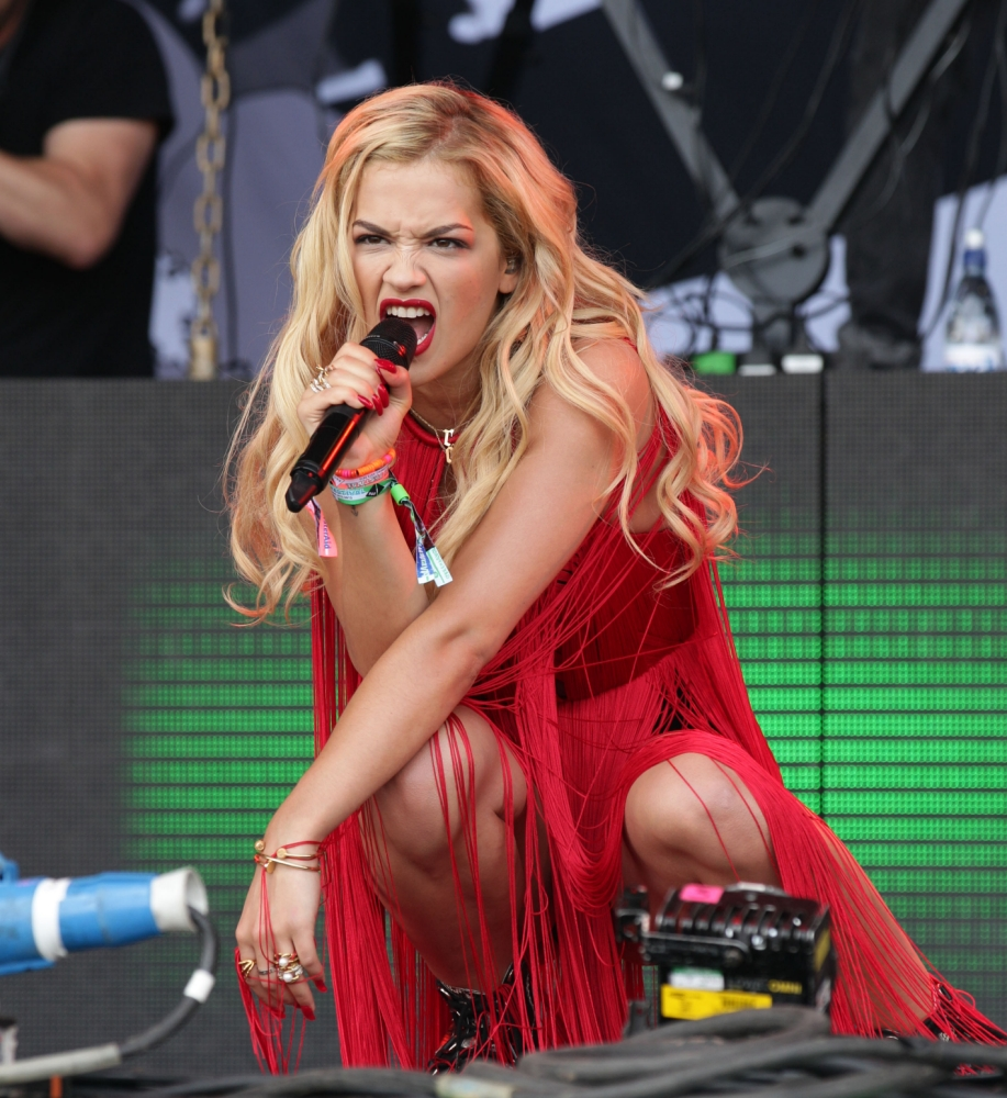 Rita Ora performing on the Pyramid Stage, at the Glastonbury Festival, at Worthy Farm in Somerset. PRESS ASSOCIATION Photo. Picture date: Friday June 28, 2013. Photo credit should read: Yui Mok/PA Wire
