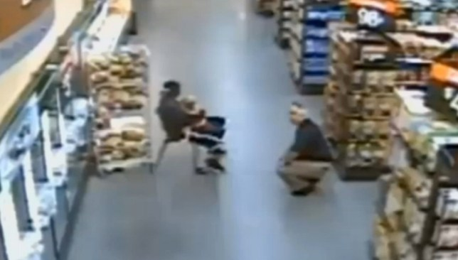 CCTV shows moment child-snatcher is shot dead in Oklahoma supermarket