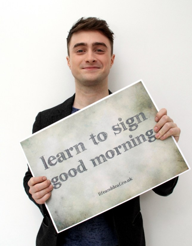 Harry Potter star joins celebs giving thumbs-up to group's sign language campaign