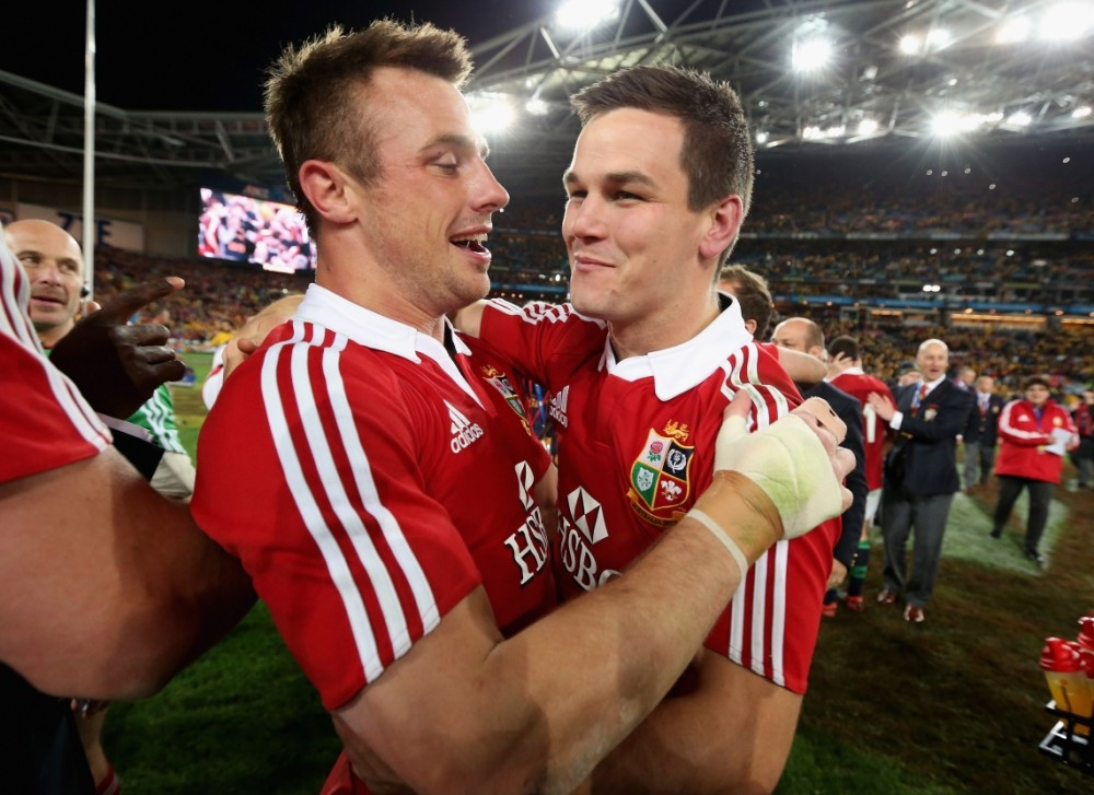 SYDNEY, AUSTRALIA - JULY 06:  Tommy Bowe (L) and Jonathan Sexton of the Lions celebrate their victory during the International Test match between the Australian Wallabies and British & Irish Lions at ANZ Stadium on July 6, 2013 in Sydney, Australia.  (Photo by David Rogers/Getty Images)