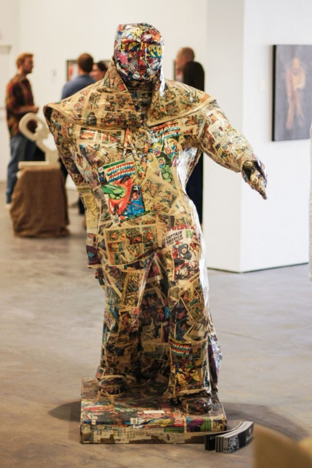 Artist accidentally uses comics worth ¬£20,000 for sculpture - Picture date Friday 5 July, 2013 (Sheffield, South Yorkshire)    Created by artist Andrew Vickers, amongst others, the papier-m¿¢ch¿© sculpture features a 1963 first edition of The Avengers on it's right leg worth well over ¬£10,000. Other comic books  bring the value of the raw materials to ¬£20,000, more expensive than marble. Andrew found the comics in a skip and thought they were junk before turning them into the piece called Paperboy.  Photo credit should read: Jonathan Pow/jp@jonathanpow.com