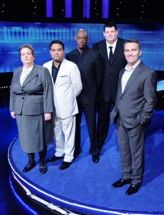 From ITV Studios THE CHASE on ITV1 Picture Shows: L-R: The Governess, Anne Hegerty; The Sinnerman, Paul Sinha; The Barrister, Shaun Wallace; The Beast, Mark Labbett and Bradley Walsh  Bradley Walsh presents a series of celebrity special versions of hit ITV1 Daytime quiz show The Chase for Sunday nights.  Over six parts, four celebrities per programme will put their knowledge to the test against one of Britain's finest quiz brains.  This week Edwina Currie, Rachel Riley, Keith Duffy, & Mark Charnock. all try to stay ahead of The Chasers and raise big money for their chosen charities or face leaving with nothing but a bruised ego. Photographer: Ken McKay For further information please contact: Peter Gray on 020 715 73046 peter.gray@itv.com This photograph is (C) ITV Plc and can only be reproduced for editorial purposes directly in connection with the programme or event mentioned above, or ITV plc. Once made available by ITV plc Picture Desk, this photograph can be reproduced once only up until the transmission [TX] date and no reproduction fee will be charged. Any subsequent usage may incur a fee. This photograph must not be manipulated [excluding basic cropping] in a manner which alters the visual appearance of the person photographed deemed detrimental or inappropriate by ITV plc Picture Desk. This photograph must not be syndicated to any other company, publication or website, or permanently archived, without the express written permission of ITV Plc Picture Desk. Full Terms and conditions are available on the website www.itvpictures.com