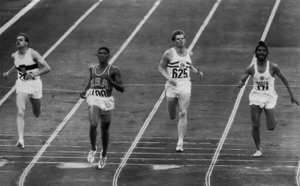 Milkha Singh (far right) in the semi-final of the men's 400m at the Rome Olympics in 1960 (Picture: Getty)