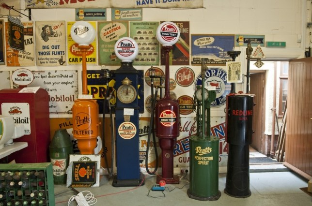 BNPS.co.uk (01202) 558833 Picture: Peter Willows Included in the collection are more than 30 petrol pumps, some up to nine foot tall and worth £5,000 A collection of motoring memorabilia that was saved from the scrap heap and restored to its former glory has sold for £250,000. Robin Barnard has spent the past 40 years hoarding classic petrol pumps, enamel signs and rare petrol globes to display inside his Grade II-listed 1920s filling station at Colyford near Seaton, Devon. Many of the 800 items have been salvaged from skips and rubbish dumps before being painstakingly restored by the devoted 72-year-old. Mr Barnard ran Colyford Filling Station from 1982 to 2001 before opening the adjoining building as Motoring Memories museum in 2004 to house his memorial to motoring.