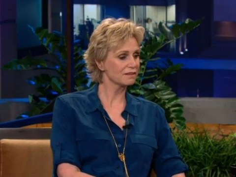 Jane Lynch fights back tears as she pays tribute to Cory Monteith on The Tonight Show with Jay Leno