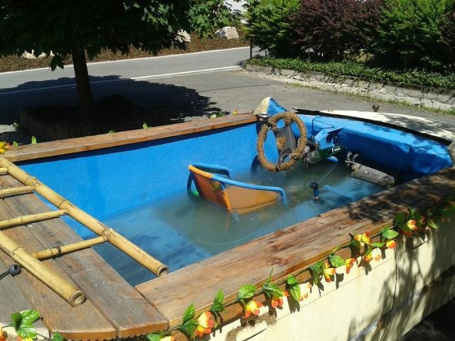 Drunk revellers take swimming pool car for a spin in Eibenstock, Germany