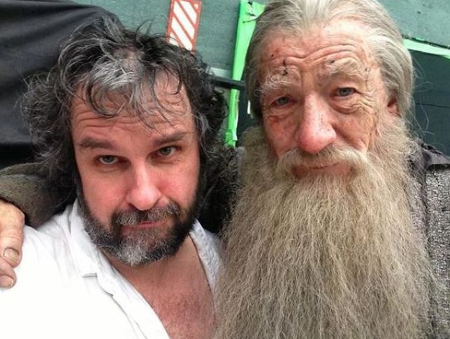 Peter Jackson poses with  Sir Ian McKellen on his last day on set (Picture: Peter Jackson/Facebook)