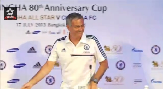 Jose Mourinho saw the funny side after he tripped on stage (Picture: YouTube)