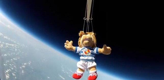 Flying high: Reading may have been relegated from the Premier League, but their mascot was briefly on top of the world. (Picture: YouTube)