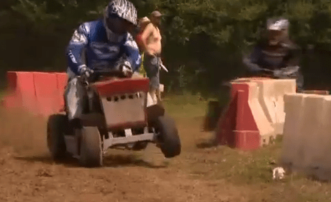 Video: Drivers cut each other up at the British lawn mower championships in West Sussex