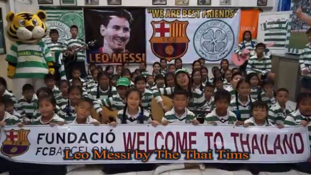 Thai school children in Celtic shirts dedicate song to Lionel Messi