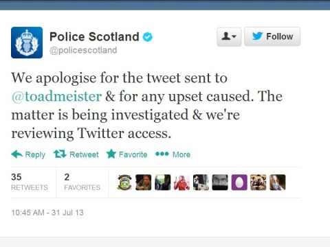 Police Scotland apologise for Toby Young Newsnight tweet