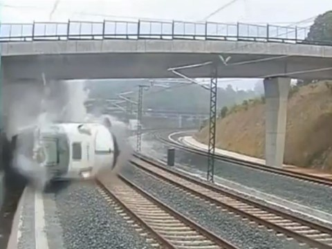 Spain train crash: Deadly accident filmed by security camera