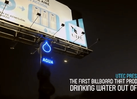 Marketing for good: Billboard creates water from air humidity