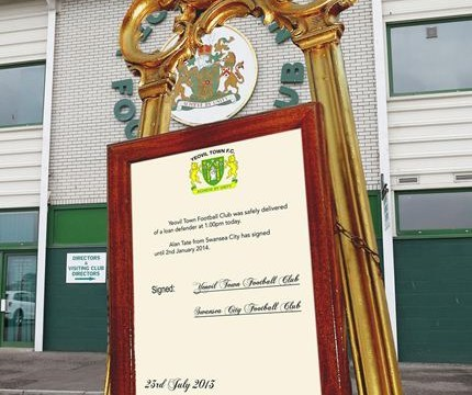 Yeovil mock royal baby easel to announce Alan Tate's loan arrival from Swansea