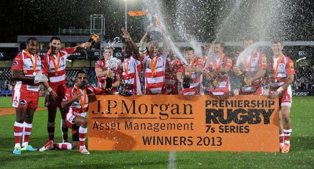 Gloucester celebrate after winning the J.P. Morgan Series Final 2013 during the JP Morgan Prem Rugby 7's at the Recreation Ground, Bath. PA Wire/Press Association Images