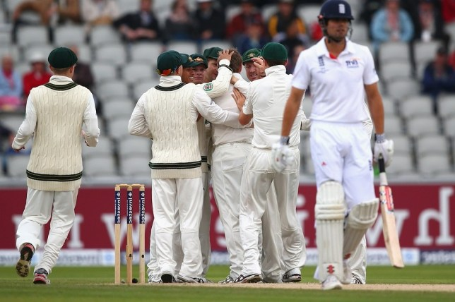 MANCHESTER, ENGLAND - AUGUST 05:  Ryan Harris of Australia celebrates after taking the wicket of Alastair Cook of England  during day five of the 3rd Investec Ashes Test match between England and Australia at Emirates Old Trafford Cricket Ground on August 5, 2013 in Manchester, England. Getty Images