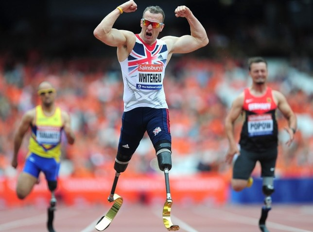 Strong man: Whitehead sets out on his run around Britain on Tuesday (Picture: Getty Images)