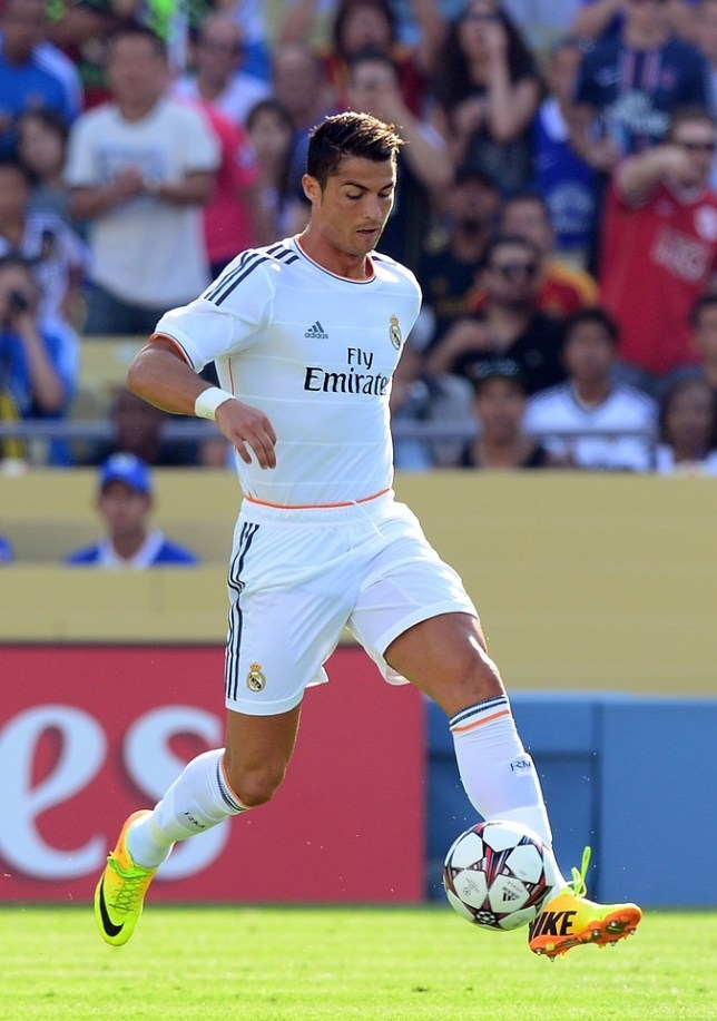 Cristiano Ronaldo of Real Madrid takes the ball upfield against Everton during their International Champions Cup match at Dodger Stadium in Los Angeles on August 3, 2013. Real Madrid defeated Everton 2-1. AFP/Getty Images