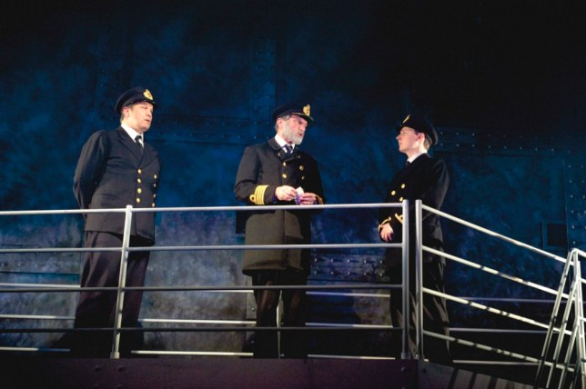 Sion Lloyd (Murdoch) , Philip Rham (Captain Smith)  and Dominic Brewer (Lightoller) appear in Titanic at Southwark Playhouse (Picture: Annabel Vere)