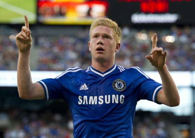 Chelsea's Kevin De Bruyne celebrates his goal against AC Milan during a 2013 International Champions Cup match on August 4 , 2013 at the MetLife stadium in East Rutherford, New Jersey.  AFP PHOTO/Don EmmertDON EMMERT/AFP/Getty Images