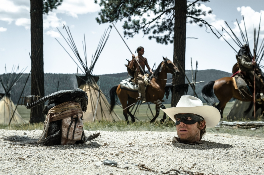 Johnny Depp and Arnie Hammer try to hide from bad reviews for The Lone Ranger (Picture: Disney Enterprises)