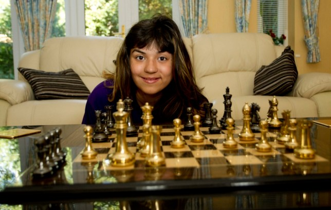 Cerys Cooksammy-Parnell playing chess at her home in Northampton. Cerys achieved a maximum score in a supervised MENSA test at only age 11. This places her IQ above Stephen Hawkins and Einstein.