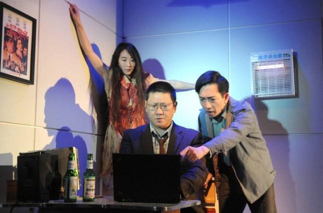 Chimerica at the Harold Pinter Theatre Elizabeth Chan as Liuli, Benedict Wong as Lin, David K S Tse as Wei ©Alastair Muir