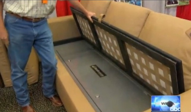 Bulletproof couch - grab from WFAA video taken 17/8/2013: http://www.wfaa.com/news/local/Bulletproof-couch-on-display-at-Fort-Worth-hunting-show-220003231.html