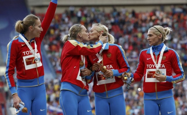 Russian athletes 'just kissing, not protesting against anti-gay laws'