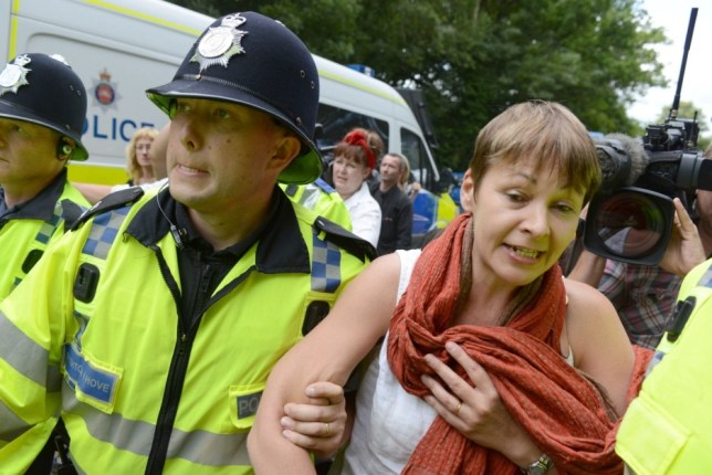 Green Party MP Caroline Lucas arrested at anti-fracking protest