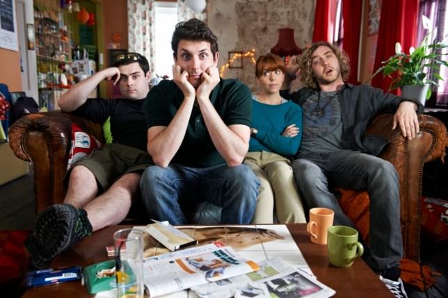 Oakley (David Fynn), Ben (Blake Harrison), Beth (Rebecca Humphries) and Eggman (Seann Walsh) star in Big Bad World (Picture: Adam Lawrence)