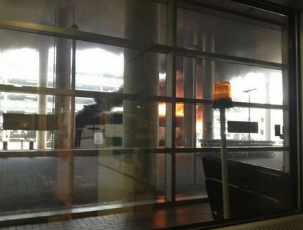 National Express coach catches fire at Gatwick Airport