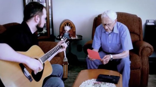 Fred Stobaugh, a 96-year-old man from East Peoria, Ill., entered a song-writing contest held by the town's Green Shoe Studio.