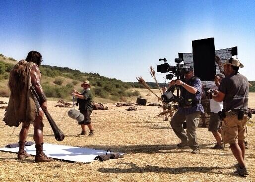 Dwayne Johnson in action on the set of Hercules (Picture: Twitter)