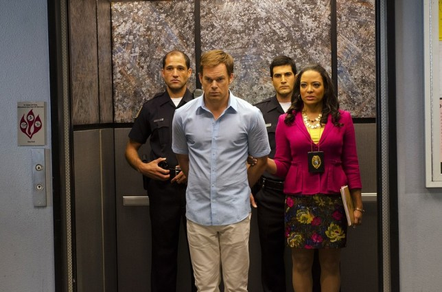 "This undated publicity photo released by Showtime shows Michael C. Hall, front left,  as Dexter Morgan and Lauren Velez as Maria LaGuerta in a scene from  ""Dexter,"" Season 7, episode 12. The end is coming for ""Dexter,"" Showtime's serial killer drama. The cable channel said Thursday, April 18, 2013, that the series' upcoming eighth season will be its last. AP"