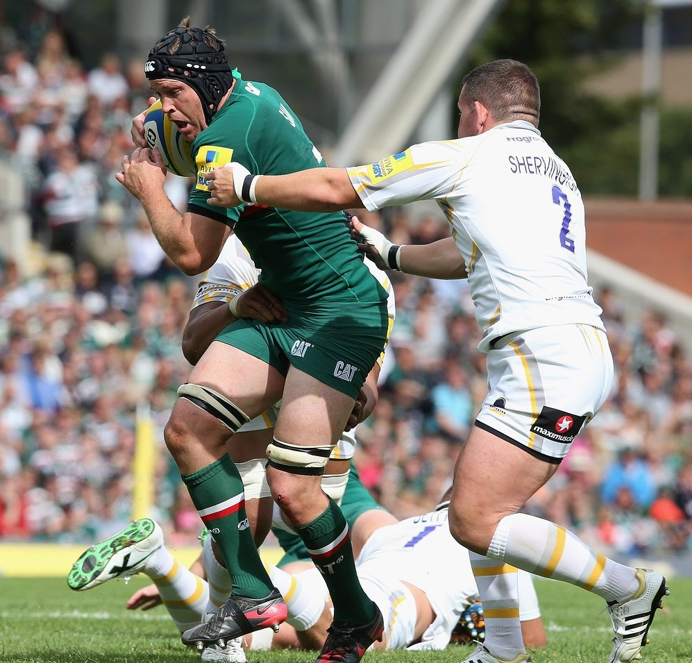 LEICESTER, ENGLAND - SEPTEMBER 08: Julian Salvi of Leicester is tackled by Ed Shervington during the Aviva Premiership match between Leicester Tigers and Worcester Warriors at Welford Road on September 8, 2013 in Leicester, England. Getty Images