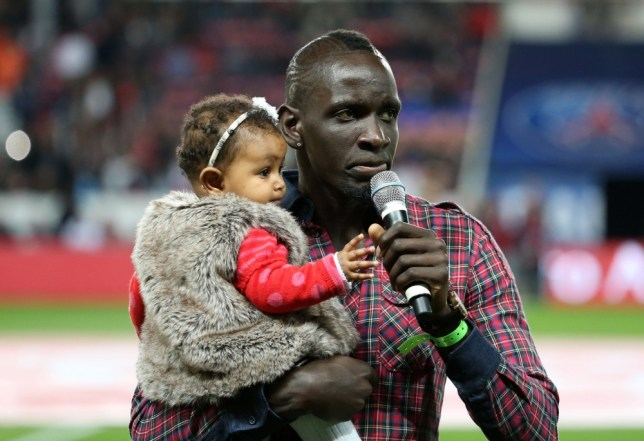 Paris Saint-Germain's former defender Mamadou Sakho delivers a speech before the start of the French L1 football match between Paris Saint-Germain and AS Monaco at the Parc des Princes Stadium in Paris on September 22, 2013. AFP PHOTO / FRANCK FIFEFRANCK FIFE/AFP/Getty Images