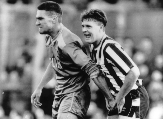 Football - Division One 87/88 - Newcastle United v Wimbledon - St James Park - 5/9/87 Newcastle's Paul Gascoigne is grabbed in the shorts by Wimbledon's Vinnie Jones Mandatory Credit: Action Images / MSI PLEASE NOTE: FOR UK EDITORIAL SALES ONLY. CONTRACT CLIENTS: ADDITIONAL FEES MAY APPLY - PLEASE CONTACT YOUR ACCOUNT MANAGER