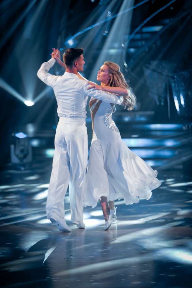 Embargoed to 2030 Saturday September 28. For use in UK, Ireland or Benelux countries only. BBC handout photo of Aljaz Skorjanec and Abbey Clancy performing during rehearsals for the BBC programme Stictly Come Dancing. PRESS ASSOCIATION Photo. Issue date: Saturday September 28, 2013. See PA story SHOWBIZ Strictly. Photo credit should read: Guy Levy/BBC/PA Wire  NOTE TO EDITORS: Not for use more than 21 days after issue. You may use this picture without charge only for the purpose of publicising or reporting on current BBC programming, personnel or other BBC output or activity within 21 days of issue. Any use after that time MUST be cleared through BBC Picture Publicity. Please credit the image to the BBC and any named photographer or independent programme maker, as described in the caption.
