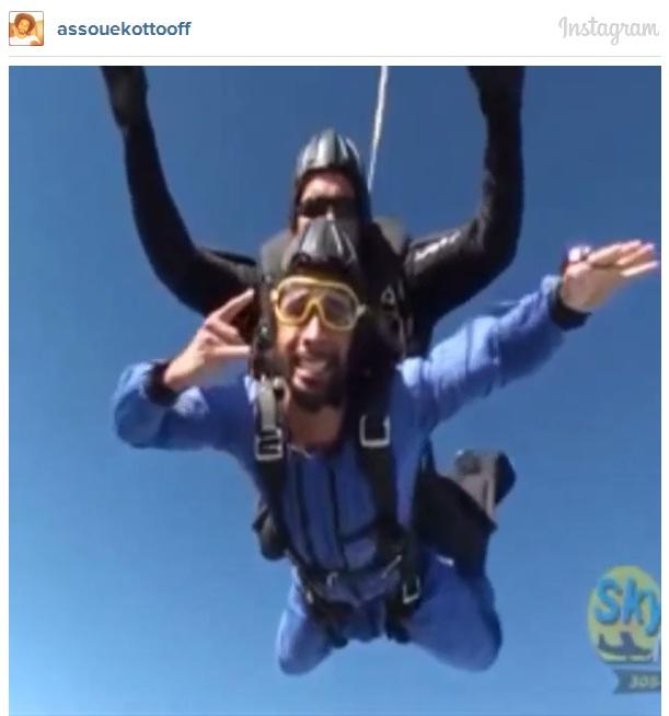 Benoit Assou-Ekotto takes a break from football with Miami skydive