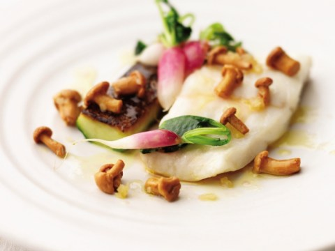 How to cook turbot, toasted cucumber, mushrooms and radishes