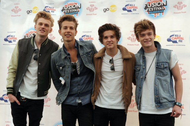 (left to right) Tristan Evans, James McVey, Bradley Will Simpson and Connor Ball of The Vamps pose backstage during day one of the Fusion Festival at Cofton Park, Birmingham. PRESS ASSOCIATION Photo. Picture date: Saturday August 31, 2013. Photo credit should read: Joe Giddens/PA Wire