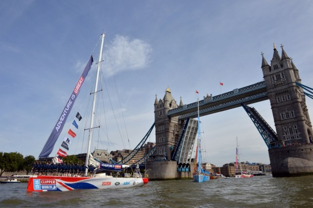 1/09/2013 The Start of The Clipper Round the World Race. The Clipper GREAT BRITAIN leads the fleet of 12 clippers as they set out from London.
