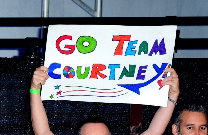 Courtney Stodden's besotted husband Doug Hutchison shows his support with 'Team Courtney' banner