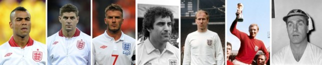 Composite file photo of (left to right) England's Ashley Cole, Steven Gerrard, David Beckham, Peter Shilton, Bobby Charlton, Bobby Moore and Billy Wright. PRESS ASSOCIATION Photo. Issue date: Sunday September 8, 2013. Frank Lampard is poised to become the latest England player to reach a century of caps, with his 100th expected to arrive when Roy Hodgson's team play Ukraine on Tuesday. See PA story SOCCER Lampard Centurions. Photo credit should read: PA Wire