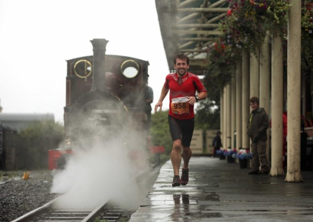 Tobias attempts to Race The Train in Tywyn, Wales (Picture: D Legakis/Athena Picture Agency)