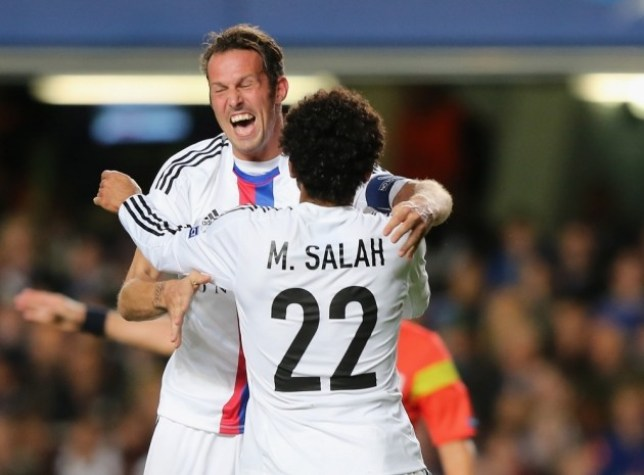 LONDON, ENGLAND - SEPTEMBER 18:  Mohamed Salah of FC Basel celebrates scoring their first goal with Marco Streller of FC Basel during the UEFA Champions League Group E Match between Chelsea and FC Basel at Stamford Bridge on September 18, 2013 in London, England.  (Photo by Ian Walton/Getty Images)